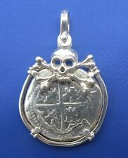 Sterling Silver Pirate Shipwreck Rescued Treasure Cobb Coin Pendant with Skull