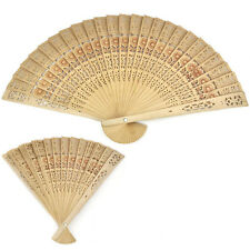 Chinese Folding Bamboo Original Wooden Carved Hand Fan 3r