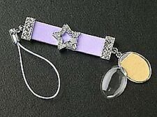 Silver Dangle Crystal Star Photo Cell Phone Charm Purple Strap Free Shipping New
