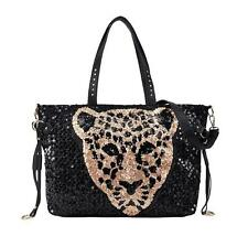 Sexy Women Ladies Leopard Head Handbag Rivets Sequin Bling Bag Hobo Shoulder Bag