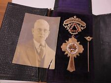 Early 1900s Masonic 10KT Solid Gold Past Eminent Commander Medal & Stick Pin