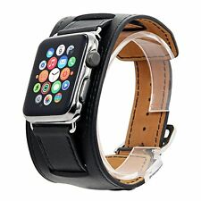 Premium Genuine Leather Black Cuff Band Strap For Apple Watch iWatch 42MM