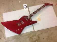 Vintage 80's Metallic Red Explorer Electric Guitar Project Mahogany Neck Thru
