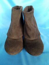"""Steve Madden Brown Suede Leather Ankle Boots Size 6.5 M 3.5"""" Heel"""
