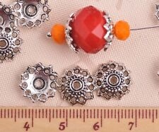 50pcs 12mm Round Tibetan Silver Wheel Caps Charm Loose Spacer Beads Findings
