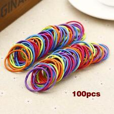 100pcs Elastic Rope Little Girls Hair Bands Ring Ropes Scrunchie Dark Color AD