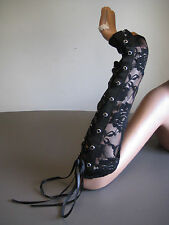 Gloves Fingerless Corset Lace-Up Gothic Steampunk Arm Warmers Lace Elbow Black