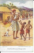 EARLY  POSTCARD  - CENTRAL AFRICAN VILLAGE LIFE.