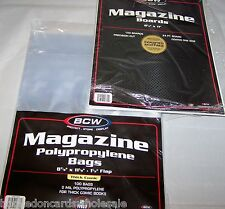 "100 Each BCW 8 7/8"" Thick Magazine Storage Bags Sleeves & Backer Boards"