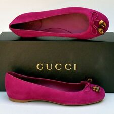 GUCCI New sz 37 - 7 Authentic Designer Bamboo Womens Ballet Flats Shoes
