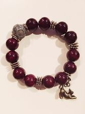 FASHION JEWELRY - Carved Russian Burgundy Porcelain Bead Cat Shamballa Bracelet