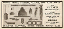 1915 WHITAKER MOWER KNIVES SECTIONS GUARD HAY RAKE TEETH AD CLEARING IL ILLINOIS
