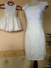 Mother And Daughter Matching Dresses In White For Party Occasion outdoor + Gift
