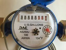 DAE AS250U-100P 1 inch Potable Water Meter, Pulse Output, Measuring in Gallon