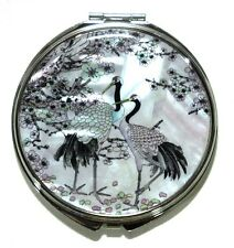 White Compact makeup hand mirror Mother of pearl Metal magnify dual sided Cranes