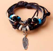 Feather Men Women Braided Cord Leather Bracelet Surfer Wristband Fashion BE