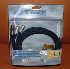 HIGH-END 1,5m Scart Adapter Kabel Stecker Scart - 6 Cinch  IN/OUT GOLD