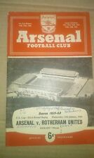 ARSENAL FC VS ROTHERHAM UNITED FOOTBALL PROGRAMME 1960 FA CUP ROUND THREE REPLAY