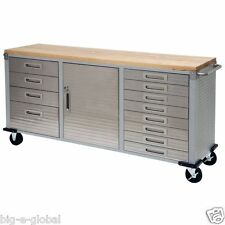 Garage Rolling Metal Steel Tool Box Storage Cabinet Wooden Workbench 12 Drawers