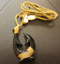 Hawaiian Hand carved Polynesian Braids Black Bone Fish Hook Pendant Necklace