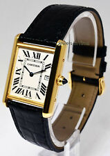 Cartier Tank Louis 18k Yellow Gold Mens Quartz Watch & Box 2441