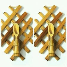 Pair(2) of Bamboo wooden wall hanging flower vase