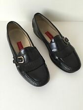 Mens Cole Haan 8 1/2 D Pinch Buckle Kiltie Black Leather Slip On Loafers 8.5 D