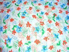 Beautiful blue and red flowers on white vintage fabric material 56x160 in chic