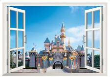 Large adhesive removable 3D window Scene View Castle sky Wall decal home sticker
