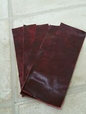 "Oxblood red 9""×3"" Vintage You get 5 pieces Aged Real leather offcuts 1.1mmThick"