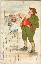 1905 Venezia - Immagine di uomo che fuma, donna con ombrello - FP COL VG
