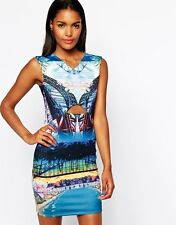 BNWT River Island Scenic Print Cut Away Evening Occasion Dress Size 18 NEW