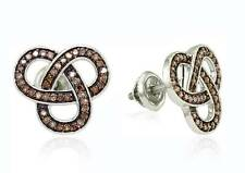Pretty! .925 Sterling Silver Chocolate Brown Diamond Love Knot Earrings .50ct