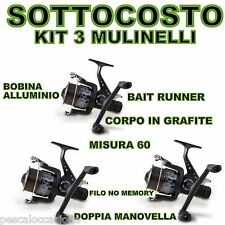 kit mulinelli mulinello da pesca bait runner carp fishing siluro carpa feeder