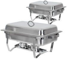 Set of (2) Full Size Rectangular 8 Qt. Stainless Steel Chafing Dish Buffet Tray