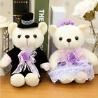 2 pcs stuffed plush purple wedding dress love teddy bear animal gift toy 10''