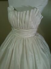 Ivory Taffeta Pleated Bodice Strapless Ball GownWedding Dress 10-12  with Train