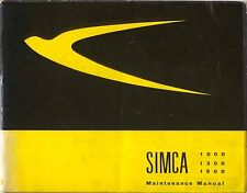 Simca 1000 1300 1500 Maintenance Manual 1965 in English pub. by Olyslager