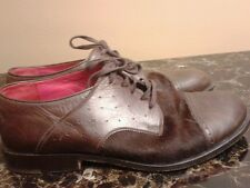 Henry Cuir leather and fur Oxford Shoes size 7.5