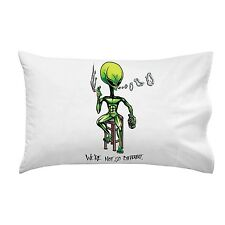 Alien on Barstool We're Not So Different Single Pillow Case Soft Queen New