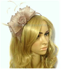 Large Nude Headband Aliceband Hat Fascinator Wedding Ladies Day Race Royal Ascot