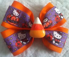 "Girls Hair Bow 4"" Wide Halloween Hello Kitty Candy Corn Flatback Alligator Clip"