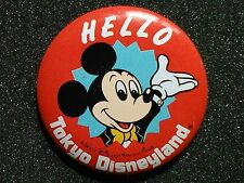 TOKYO DISNEYLAND MICKEY HELLO BUTTON FROM WALT DISNEY PRODUCTIONS HELLO SERIES