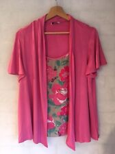 M&S Women's Size 16 2 In 1 Cardigan Top Pink Flowers  L4237