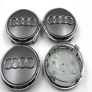 4x Audi 77mm Grey Chrome Wheel Center Badge Caps A3 A5 A6 A7 A8 Q5 Q7 4L060117