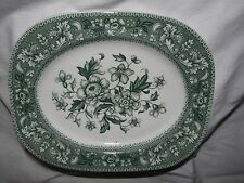 green transferware vintage WOOD WESTMINSTER floral toile SERVING PLATTER