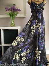 MONSOON BLACK PURPLE GREEN YELLOW FLORAL MARTINIQUE SILK WEDDING MAXI DRESS 18