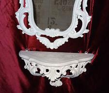 Wandkonsole Weiß mit Wandspiegel Barock 50X76 Spiegel ablage Kommode Retro Repro