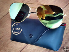 Hollywood Style Reflective Awesome Green Sunglasses - Free Leather Cover