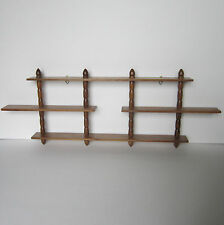 Vintage Danish Wooden 3 4 Tier Display Curio Wall Mount Hanging Shelf Spindle